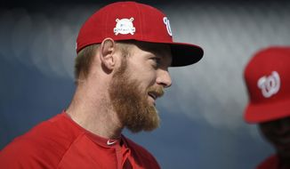 Washington Nationals' Stephen Strasburg looks on during baseball practice at Nationals Park, Thursday, Oct. 5, 2017, in Washington. Strasburg is slated to start Game 1 of the National League Division Series against the Chicago Cubs in on Friday. (AP Photo/Nick Wass)