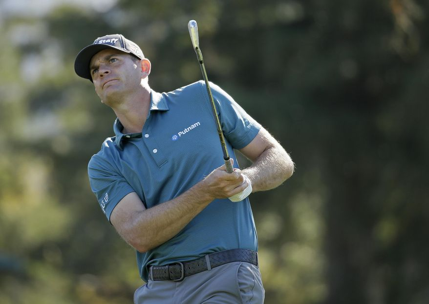 Brendan Steele follows his shot from the second tee of the Silverado Resort North Course during the first round of the Safeway Open PGA golf tournament Thursday, Oct. 5, 2017, in Napa, Calif. (AP Photo/Eric Risberg)