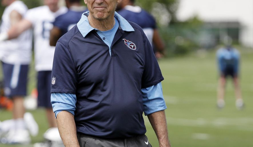 FILE - In this May 23, 2017, file photo, Tennessee Titans defensive coordinator Dick LeBeau watches as players warm up during the team's organized team activity at its NFL football training facilit, in Nashville, Tenn. The Titans have a bit of an issue with only New England and Indianapolis giving up more points as they prepare to visit Miami.  (AP Photo/Mark Humphrey, File)