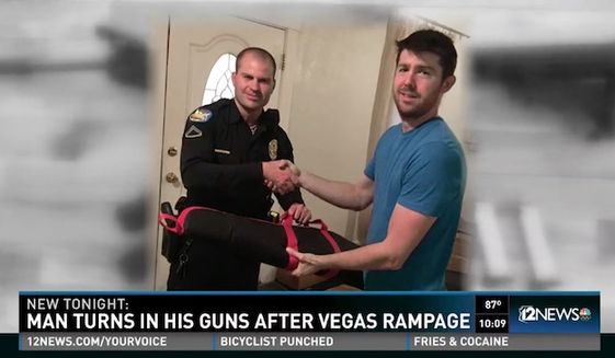 Jonathan Pring, of Phoenix, says he's become the target of death threats after he posted photos of himself on social media voluntarily handing his guns over to police in response to Sunday's mass shooting in Las Vegas. (KPNX)