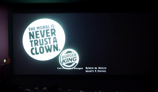 "Screen capture from a Burger King Deutschland YouTube video posted on Oct. 5, 2017, depicting a advertisement the fast-food chain projected on screen at the conclusion of the horror film ""It."" (Burger King/YouTube)"