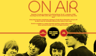 "Screen capture from RollingStones.com's main page, promoting the band's forthcoming album ""On Air,"" a compilation of remastered tracks from BBC radio performances from 1963-65. (RollingStones.com)"