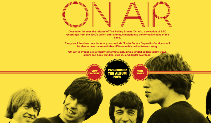 """Screen capture from RollingStones.com's main page, promoting the band's forthcoming album """"On Air,"""" a compilation of remastered tracks from BBC radio performances from 1963-65. (RollingStones.com)"""