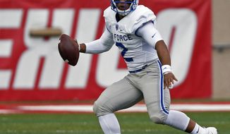 FILE - In this Sept. 30, 2017, file photo, Air Force quarterback Arion Worthman searches for a receiver during the first half of an NCAA college football game against New Mexico, in Albuquerque, N.M. Air Force plays against Navy on Saturday, Oct. 7. (AP Photo/Andres Leighton, File)