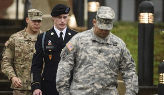 In this Dec. 22, 2015, file photo, U.S. Army Sgt. Bowe Bergdahl leaves the courthouse after his arraignment hearing at Fort Bragg, N.C. (Andrew Craft /The Fayetteville Observer via AP, File)