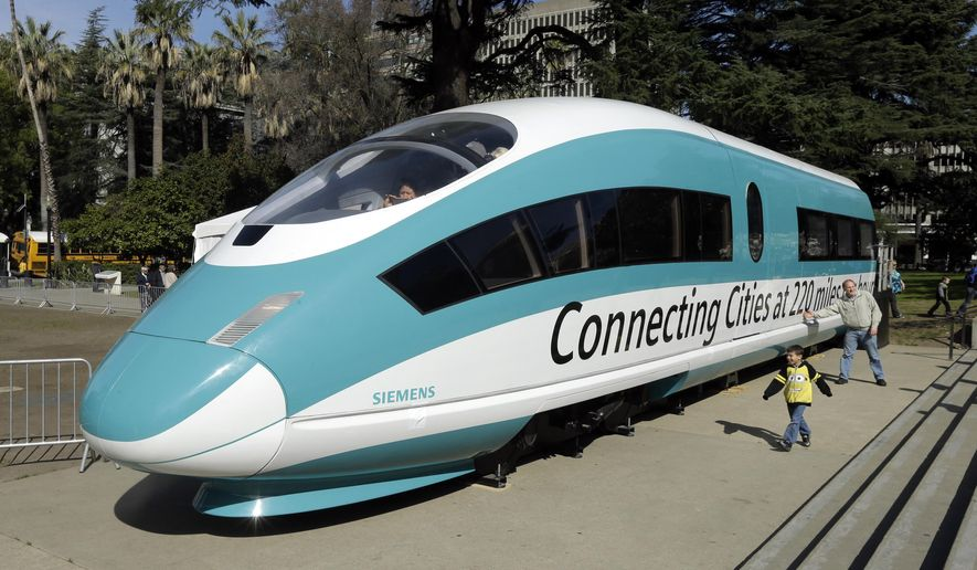 FILE - in this Feb. 26, 2015, photo, a full-scale mockup of a high-speed train is displayed at the Capitol in Sacramento, Calif. The agency overseeing California's bullet train project has recommended a U.S. subsidiary of a German rail company to help design and operate a Central Valley train segment in its early stages. The California High-Speed Rail Authority's board of directors will vote Oct. 19, 2017, on whether to approve DB Engineering & Consulting USA for the $30 million early operating contract. (AP Photo/Rich Pedroncelli, File)
