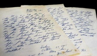 A Wednesday, August 23, 2017 photo shows the notes Lee Davis wrote during the trip to Cuba. Davis, 92, sailed to Cuba in1965 to help a stranger rescue his parents and bring them to the United States. Davis, who has prostate cancer and congestive heart failure, spoke to Paul Guzzo, at his home in Apollo Beach, Fla.  (Alessandra Da Pra/The Tampa Bay Times via AP)