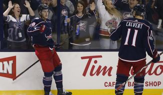 Columbus Blue Jackets' Pierre-Luc Dubois, left, celebrates his goal against the New York Islanders during the second period of an NHL hockey game Friday, Oct. 6, 2017, in Columbus, Ohio. (AP Photo/Jay LaPrete)
