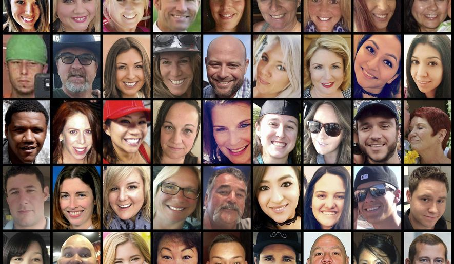 This photo combination shows some of the victims of the mass shooting that occurred at a country music festival in Las Vegas on Sunday, Oct. 1, 2017. Top row from left are: Hannah Ahlers, Heather Warino Alvarado, Carrie Barnette, Steven Berger, Candice Bowers, Denise Burditus, Sandy Casey, Andrea Castilla and Denise Cohen. Second row from left are: Austin Davis, Tom Day Jr., Christiana Duarte, Stacee Etcheber, Brian Fraser, Keri Lynn Galvan, Dana Gardner, Angie Gomez and Rocio Guillen. Third row from left are: Charleston Hartfield, Jennifer Topaz Irvine, Nicol Kimura, Jessica Klymchuk, Rhonda LeRocque, Kelsey Meadows, Calla Medig, Sonny Melton and Pati Mestas. Fourth row from left are: Adrian Murfitt, Rachael Parker, Carrie Parsons, Lisa Patterson, John Phippen, Melissa Ramirez, Jordyn Rivera, Quinton Robbins and Cameron Robinson. Bottom row from left are: Lisa Romero-Muniz, Christopher Roybal, Bailey Schweitzer, Laura Shipp, Erick Silva, Brennan Stewart, Derrick Taylor, Michelle Vo and Bill Wolfe Jr. (AP Photo)