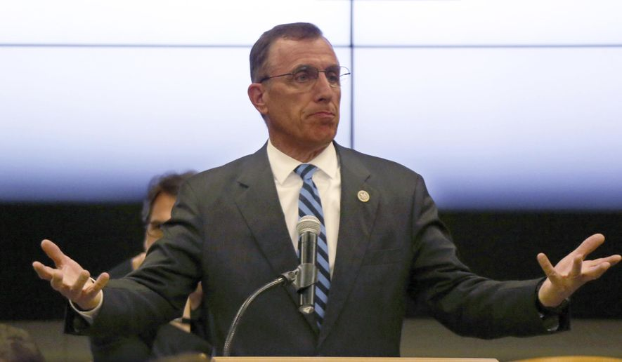 FILE- In this file photo from July 7, 2017, U.S. Rep. Tim Murphy (R- Pa) speaks at the National Energy Technology Laboratory (NETL) Pittsburgh site, in South Park Township, Pa. south of Pittsburgh. The Republican Congressman announced his resignation on Thursday Oct. 5, 2017 after his affair with a young woman came to light. (AP Photo/Keith Srakocic, FILE)