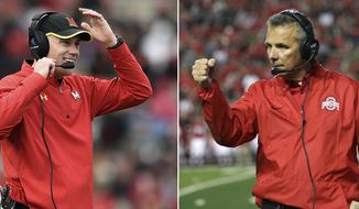 FILE - At left, in a Nov. 26, 2016, file photo, Maryland head coach DJ Durkin smiles after his team scored against Rutgers during the second half of an NCAA college football game, in College Park, Md. At right, in a Sept. 30, 2017, file photo, Ohio State head coach Urban Meyer reacts to play during an NCAA college football game against Rutgers, in Piscataway, N.J. No. 10 Ohio State continues to plow through a series of lesser opponents before the next big test comes Oct. 28 against No. 4 Penn State. Maryland, coming off an exhilarating win over Minnesota last week, will try to keep up with the more-talented Buckeyes at Ohio Stadium on Saturday. (AP Photo/File)