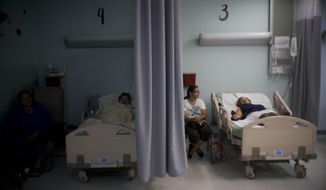 FILE - In this Thursday, Sept. 28, 2017, file photo, patients lie in their beds at a hospital in Catano, Puerto Rico. The U.S. Food and Drug Administration says drug shortages are possible because of expected long-term power outages in Puerto Rico. FDA Commissioner Dr. Scott Gottlieb said in a statement Friday, Oct. 6, 2017, that the agency is working to prevent shortages of about 40 medicines. He didn't name the medicines involved. (AP Photo/Ramon Espinosa, File)