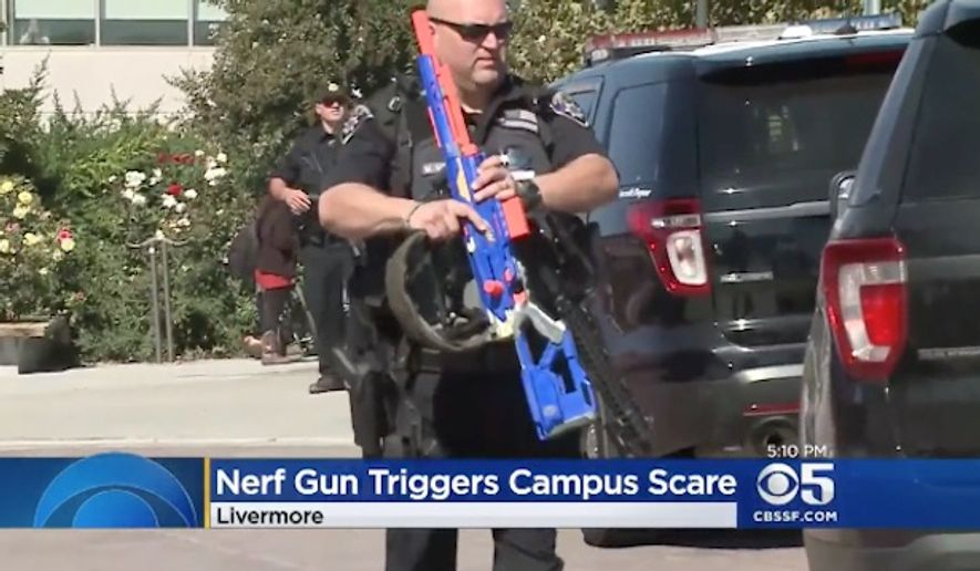 Las Positas College in Livermore, California, was placed on lockdown this week after a reported rifle on campus turned out to be a large, blue and orange Nerf gun. (CBS SF)