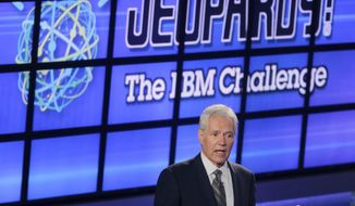 "FILE - In this Jan. 13, 2011, file photo, Alex Trebek, host of the ""Jeopardy!"" quiz show, speaks to an audience of primarily media about an upcoming ""Jeopardy!"" show featuring IBM's ""Watson"" in Yorktown Heights, N.Y. New York City bartender Austin Rogers extended his run of wins to eight on the show that aired Oct. 5, 2017, and boosted his total winnings to more than $300,000. Rogers' on-screen antics are winning him a cult following. (AP Photo/Seth Wenig, File)"