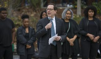 FILE--In this Nov. 11, 2016, file photo, University of Oregon President Michael Schill speaks at a rally at the university in Eugene, Ore. Schill is announcing a new anonymous gift of $50 million in his annual State of the University address in Eugene Friday, Oct. 6, 2017. (Chris Pietsch/The Register-Guard via AP, file)