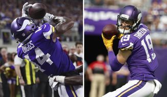 FILE - At left, in a Sept. 11, 2017, file photo, Minnesota Vikings wide receiver Stefon Diggs (14) catches a touchdown pass in front of a New Orleans Saints defender during an NFL football game, in Minneapolis. At right, in a Sept. 24,2017, file photo, Minnesota Vikings wide receiver Adam Thielen catches a pass during the first half of an NFL football game against the Tampa Bay Buccaneers, in Minneapolis. The Vikings have been hit by the injury bug again, at quarterback and running back. But they've still got a valuable asset in the ever-improving pass-catching tandem of Stefon Diggs and Adam Thielen. They're on track to give the Vikings a pair of 1,000-yard receivers, a milestone unmet since 2009. (AP Photo/File)