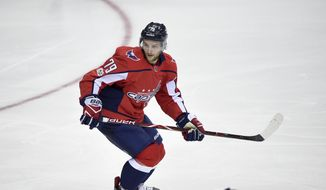 Washington Capitals left wing Nathan Walker (79), of Australia, skates during the third period of a NHL hockey game against the Montreal Canadiens, Saturday, Oct. 7, 2017, in Washington. The Capitals won 6-1. (AP Photo/Nick Wass) ** FILE **
