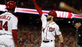 Washington Nationals' Bryce Harper, right, celebrates his two-run homer with Victor Robles (14) nearby, in the eighth inning in Game 2 of baseball's National League Division Series against the Chicago Cubs, at Nationals Park, Saturday, Oct. 7, 2017, in Washington. (AP Photo/Alex Brandon)
