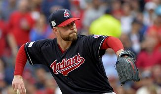 Cleveland Indians starting pitcher Corey Kluber delivers in the first inning of Game 2 of baseball's American League Division Series against the New York Yankees, Friday, Oct. 6, 2017, in Cleveland. (AP Photo/Phil Long) **FILE**