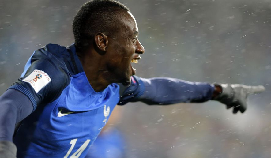 France's Blaise Matuidi celebrates his goal against Bulgaria during the World Cup Group A qualifying soccer match between Bulgaria and France at Vassil Levski Stadium in Sofia, Bulgaria, Saturday Oct. 7, 2017. (AP Photo)