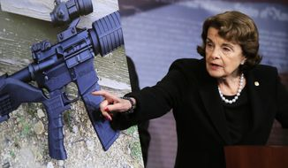Sen. Dianne Feinstein, the California Democrat who authored the 1990s ban on assault weapons, said over the weekend that Congress must enact a law banning them or risk seeing a future president simply change federal policy with the stroke of a pen. (Associated Press/File)