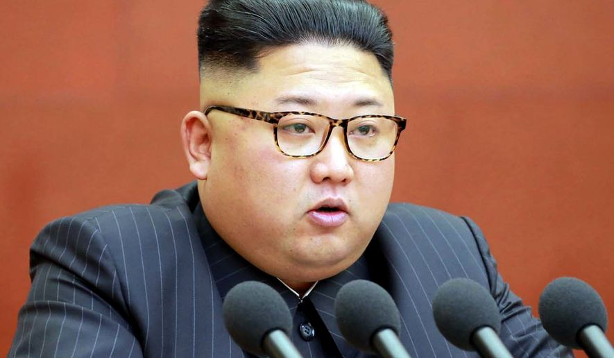 This Saturday, Oct. 7, 2017, photo distributed by the North Korean government shows North Korean leader Kim Jong-un speaking during a meeting of the central committee of the Workers' Party of Korea in Pyongyang.  Independent journalists were not given access to cover the event depicted in this image distributed by the North Korean government. The content of this image is as provided and cannot be independently verified. (Korean Central News Agency/Korea News Service via AP)