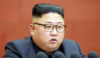 This Saturday, Oct. 7, 2017, file photo distributed by the North Korean government shows North Korean leader Kim Jong-un speaking during a meeting of the central committee of the Workers' Party of Korea in Pyongyang. (Korean Central News Agency/Korea News Service via AP)