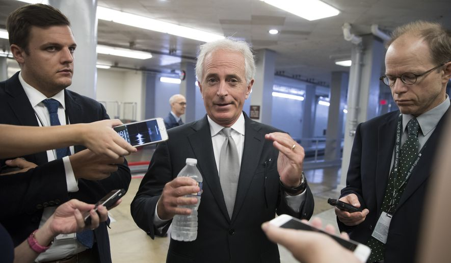 In this Sept. 26, 2017, file photo, Sen. Bob Corker, R-Tenn., chairman of the Senate Foreign Relations Committee, chats with reporters at the Capitol in Washington. (AP Photo/J. Scott Applewhite, File)