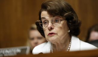 Sen. Dianne Feinstein, California Democrat and ranking member on the Senate Judiciary Committee, speaks on Capitol Hill in Washington on July 12, 2017. (Associated Press) **FILE**