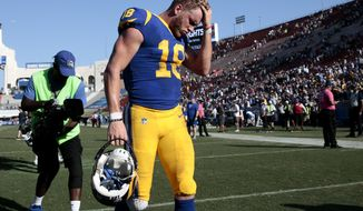 Los Angeles Rams wide receiver Cooper Kupp leaves the field after missing a touchdown catch in the final second of the game against the Seattle Seahawks in an NFL football game Sunday, Oct. 8, 2017, in Los Angeles. (AP Photo/Jae C. Hong)