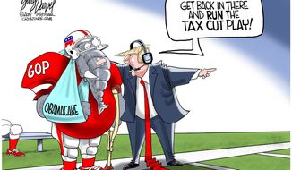 Get back in there and run the tax cut play! (Illustration by Gary Varvel for Creators Syndicate)