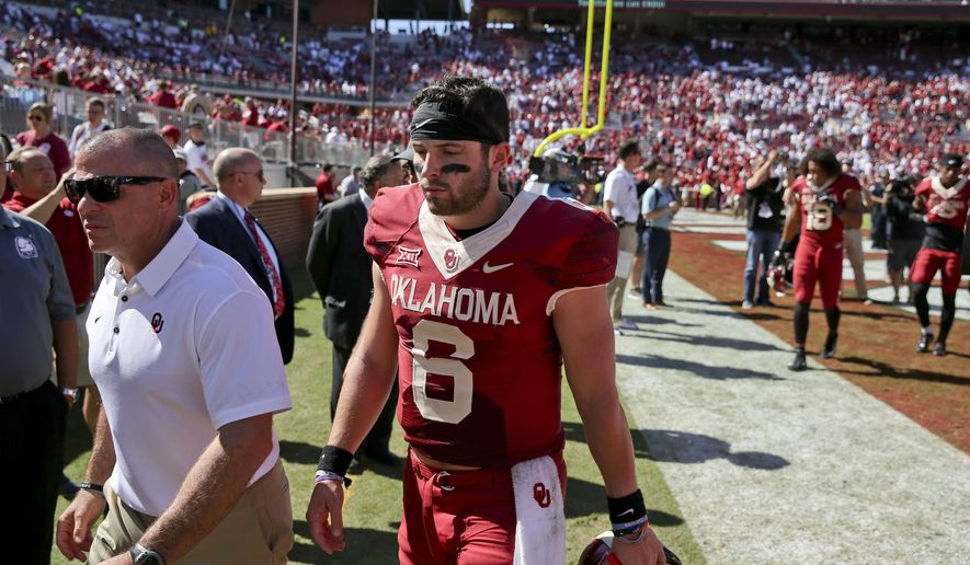 Oklahoma quarterback Baker Mayfield (6) walks off the field after an NCAA college football game against Iowa State in Norman, Okla., Saturday, Oct. 7, 2017. Iowa State defeated No. 3 Oklahoma 38-31. (Ian Maule/Tulsa World via AP)