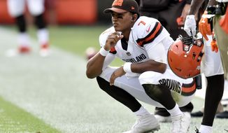 Cleveland Browns quarterback DeShone Kizer watches from the sidelines during the second half of an NFL football game against the New York Jets, Sunday, Oct. 8, 2017, in Cleveland. (AP Photo/David Richard)