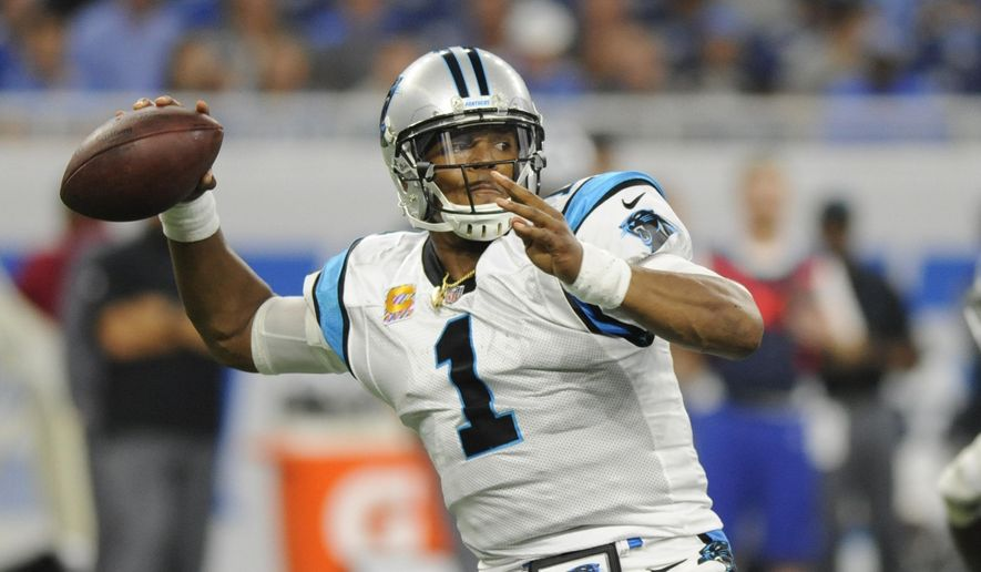 Carolina Panthers quarterback Cam Newton passes during the second half of an NFL football game against the Detroit Lions, Sunday, Oct. 8, 2017, in Detroit. (AP Photo/Jose Juarez)