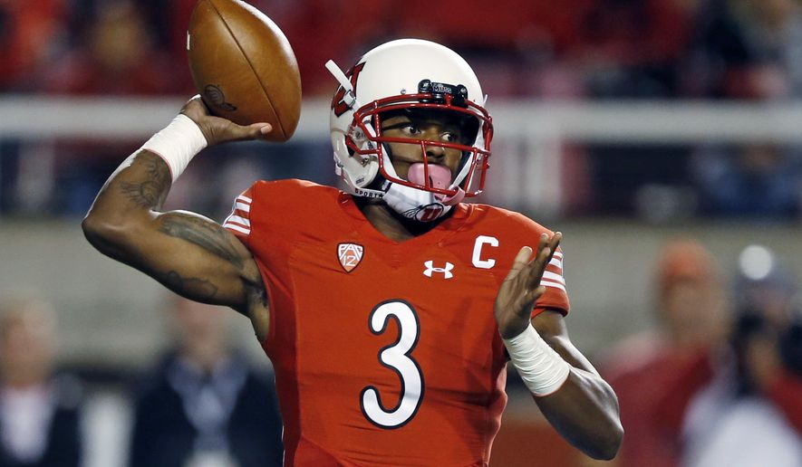 Utah quarterback Troy Williams (3) passes the ball against Stanford in the first half during an NCAA college football game Saturday, Oct. 7, 2017, in Salt Lake City. (AP Photo/Rick Bowmer)