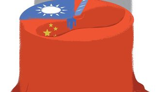 Illustration on Taiwan's national day by Linas Garsys/The Washington Times