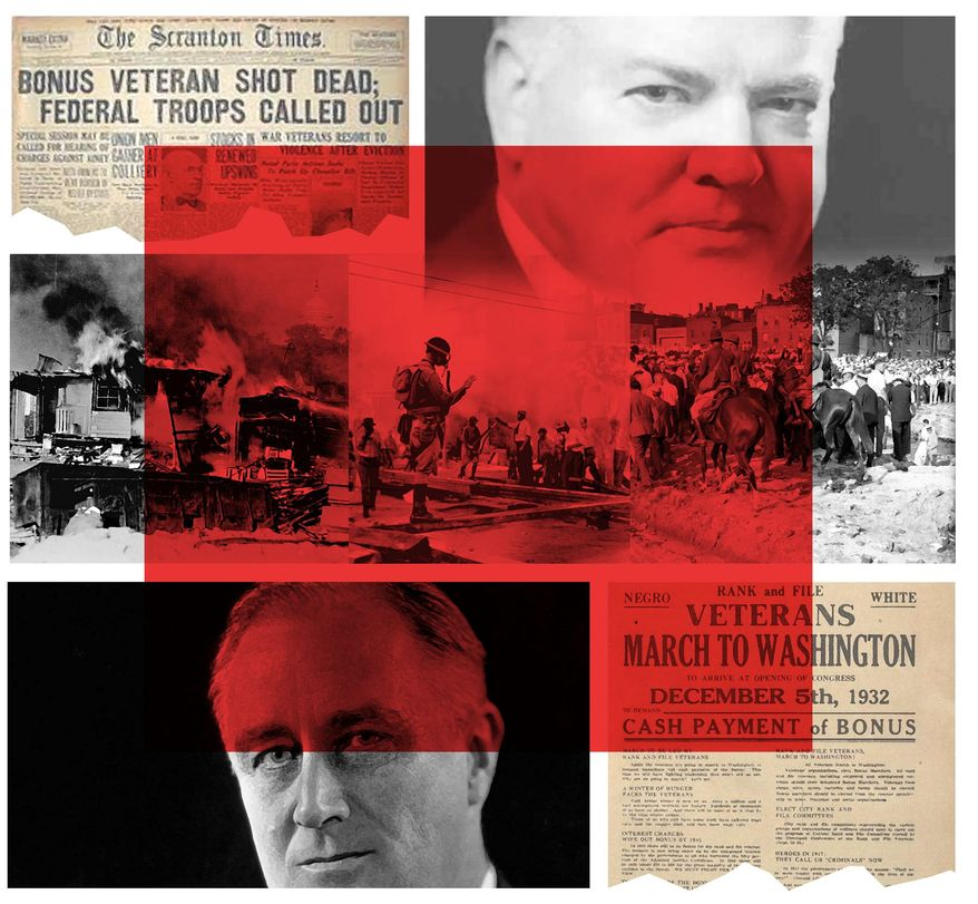 Illustration on the impact of the Bonus Army riots by Alexander Hunter/The Washington Times