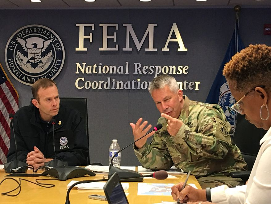 """FEMA Administrator Brock Long (left) emphasized that """"FEMA is not a first responder."""" Mr. Long said that a cultural shift is needed in Washington to ensure that resources and personnel are allocated in the times before natural disasters like hurricanes strike. (Laura Kelly/The Washington Times)"""