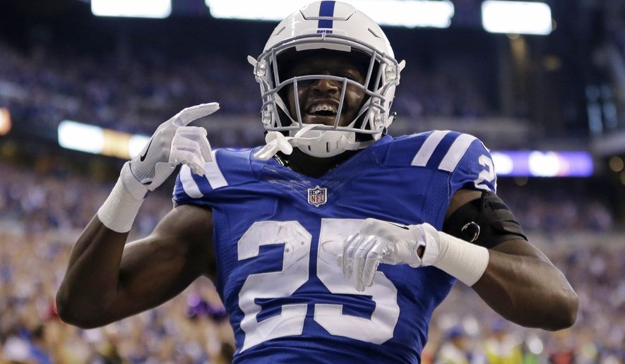Indianapolis Colts' Marlon Mack (25) celebrates after running 22-yards for a touchdown during the second half of an NFL football game against the San Francisco 49ers, Sunday, Oct. 8, 2017, in Indianapolis. (AP Photo/AJ Mast)