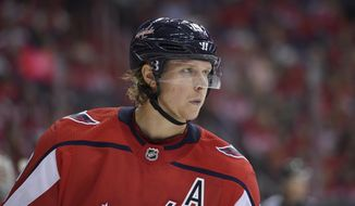 Washington Capitals center Nicklas Backstrom (19), of Sweden, looks on during the second period of a NHL hockey game against the Montreal Canadiens, Saturday, Oct. 7, 2017, in Washington. (AP Photo/Nick Wass)