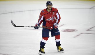 Washington Capitals left wing Alex Ovechkin (8), of Russia, looks on during the third period of a NHL hockey game against the Montreal Canadiens, Saturday, Oct. 7, 2017, in Washington. The Capitals won 6-1. (AP Photo/Nick Wass)