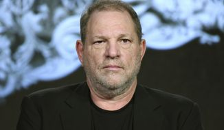 "In this Jan. 6, 2016, file photo, producer Harvey Weinstein participates in the ""War and Peace"" panel at the A&E 2016 Winter TCA in Pasadena, Calif. Weinstein has been fired from The Weinstein Co., effective immediately, following new information revealed regarding his conduct, the company's board of directors announced Sunday, Oct. 8, 2017. (Photo by Richard Shotwell/Invision/AP, File)"