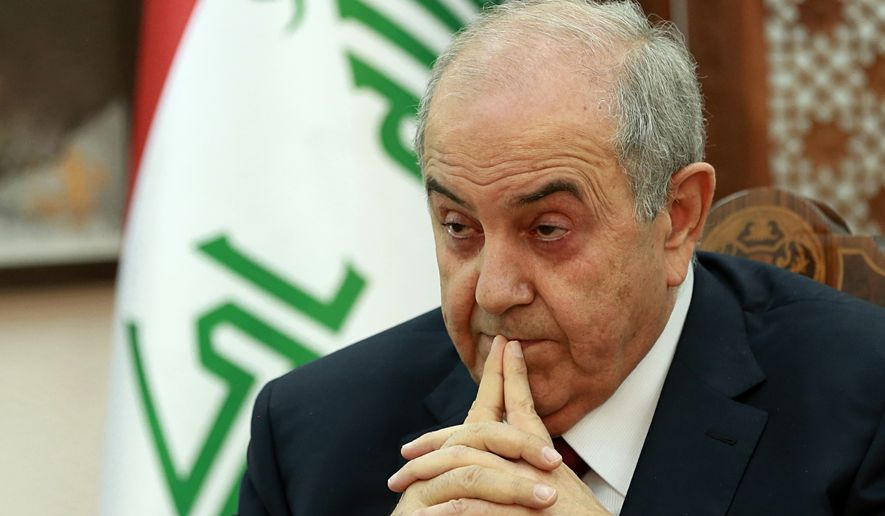 "Iraq Vice President Ayad Allawi listens to a question during an interview with The Associated Press in Baghdad, Iraq, Monday, Oct. 9, 2017. Allawi says there could be a ""violent conflict"" over the Kurdish-administered city of Kirkuk if talks over Kurdish independence are left unresolved. (AP Photo/Hadi Mizban)"
