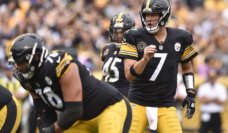 Pittsburgh Steelers quarterback Ben Roethlisberger (7) calls signals as he plays against the Jacksonville Jaguars in an NFL football game, Sunday, Oct. 8, 2017, in Pittsburgh. (AP Photo/Don Wright)