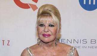 """In this May 9, 2016, file photo, Ivana Trump, ex-wife of President Donald Trump, attends the Fashion Institute of Technology Annual Gala benefit in New York. First lady Melania Trump is pushing back at Donald Trump's first wife for referring to herself as """"first lady."""" (Photo by Michael Zorn/Invision/AP, File)"""