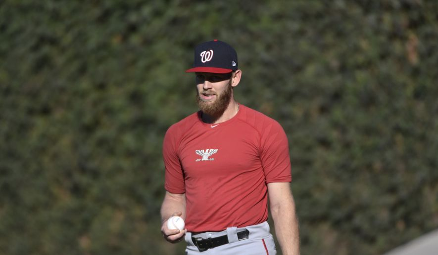 Washington Nationals starting pitcher Stephen Strasburg (37) stands in the outfield during practice at Wrigley Field, Sunday, Oct. 8, 2017, in Chicago. Game 3 of the National League Division Series between the Nationals and Cubs is Monday. (AP Photo/David Banks)