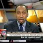 "ESPN host Stephen A. Smith told his ""First Take"" audience on Oct. 9, 2017, that President Trump is ""winning"" in the court of public opinion over the NFL's ongoing national anthem protests. (Image: ESPN ""First Take"" screenshot)"