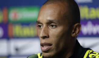 Brazil's player Miranda speaks during a news conference in Sao Paulo, Brazil, Sunday, Oct. 8, 2017. Brazil will face Chile in a 2018 World Cup qualifying soccer match on Oct. 10. (AP Photo/Andre Penner)