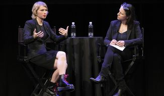 In this photo provided by The New Yorker, Chelsea Manning, left, speaks to New Yorker writer Larissa MacFarquhar during an appearance at the New Yorker Festival on Sunday, Oct. 8, 2017, in New York. Manning appeared before a largely sympathetic crowd at the annual festival, where she spoke about her life, her views, her transition to a transgender woman, and the circumstances surrounding her leaking of thousands of classified documents to WikiLeaks. (Patrick Butler/The New Yorker via AP)