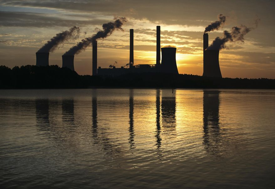 In this June 3, 2017 file photo, the coal-fired Plant Scherer, one of the nation's top carbon dioxide emitters, stands in the distance in Juliette, Ga.  (AP Photo/Branden Camp, File) **FILE**